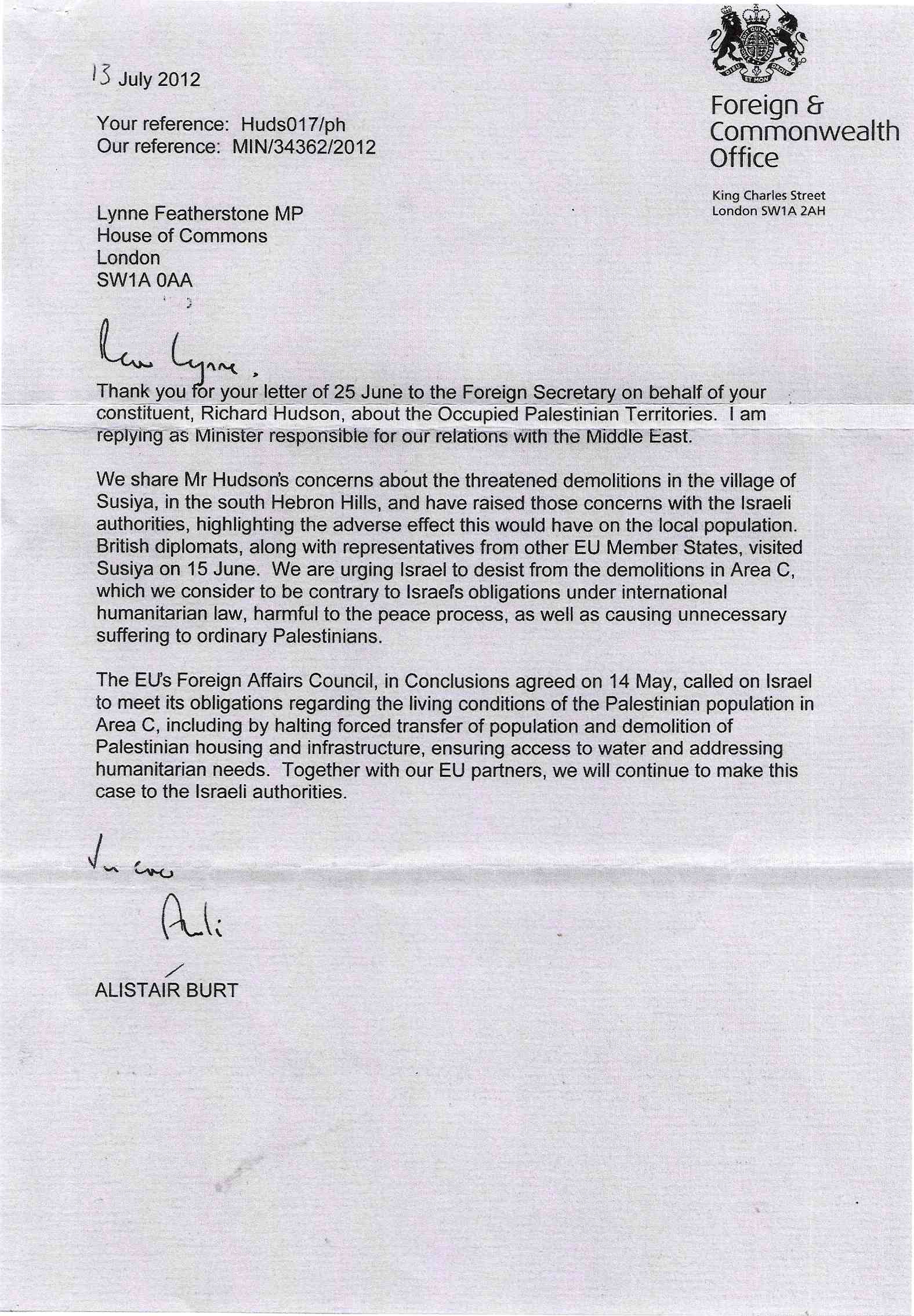 Uk government and israel richard dick hudson letter from minister to mp spiritdancerdesigns Choice Image