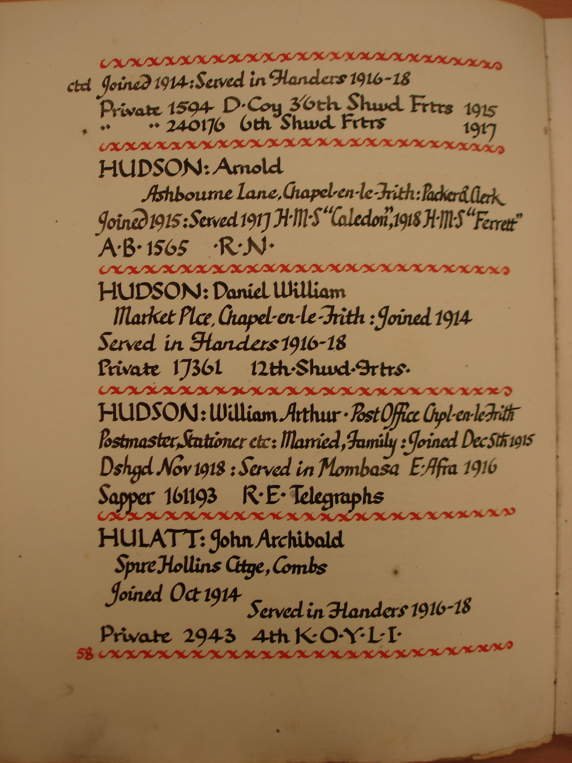 1915-18 Chapel en le F WW1 roll of honour p.58