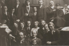 1914ish. Post office staff, Chapel en le Frith. John Hudson on William Hudson's lap